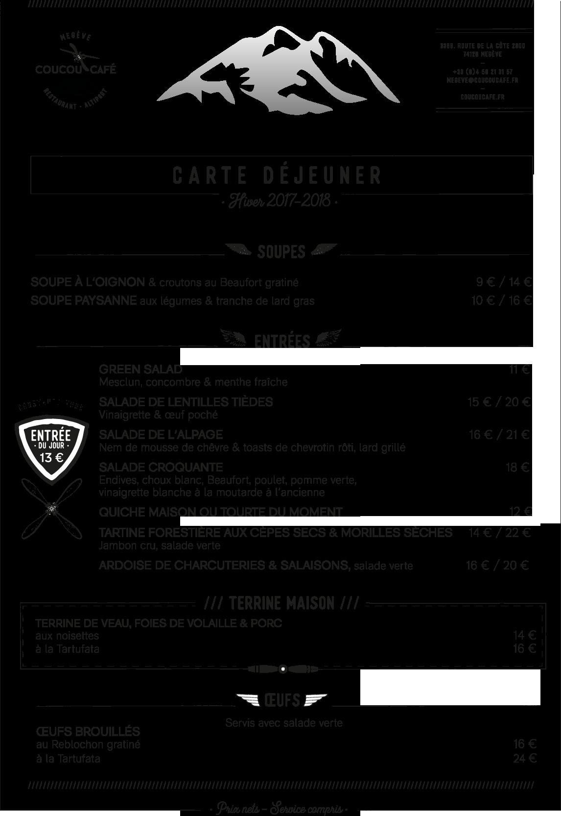 Carte Déjeuner Coucou Café Hiver 2017 - 2018