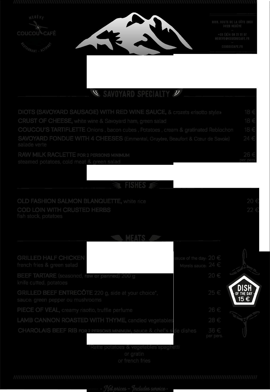 Lunch Menu Coucou Café Winter 2017 - 2018