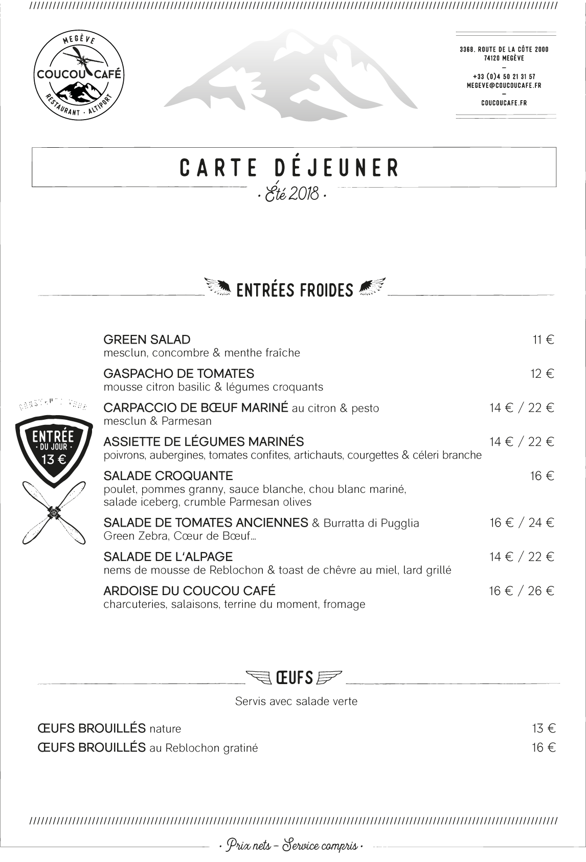 Carte Déjeuner Coucou Café - Eté 2018