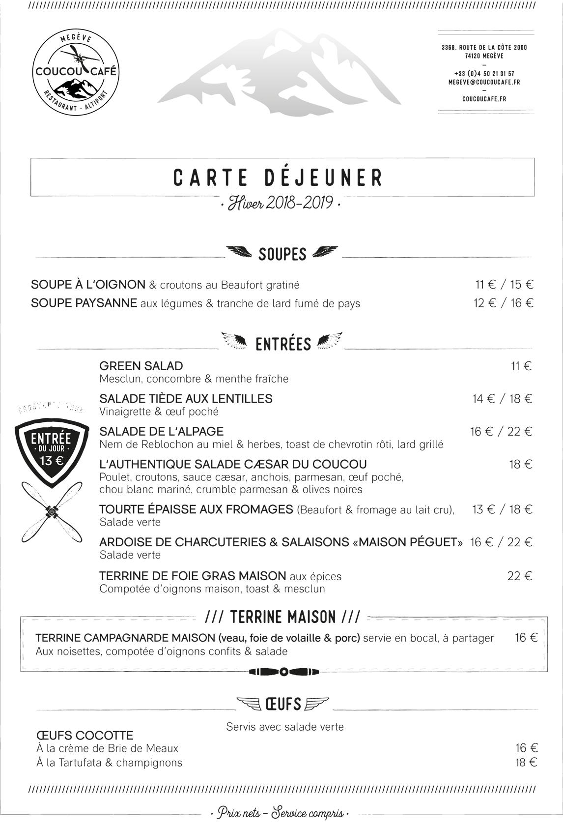 Carte Déjeuner Coucou Café -  Hiver 2018-2019