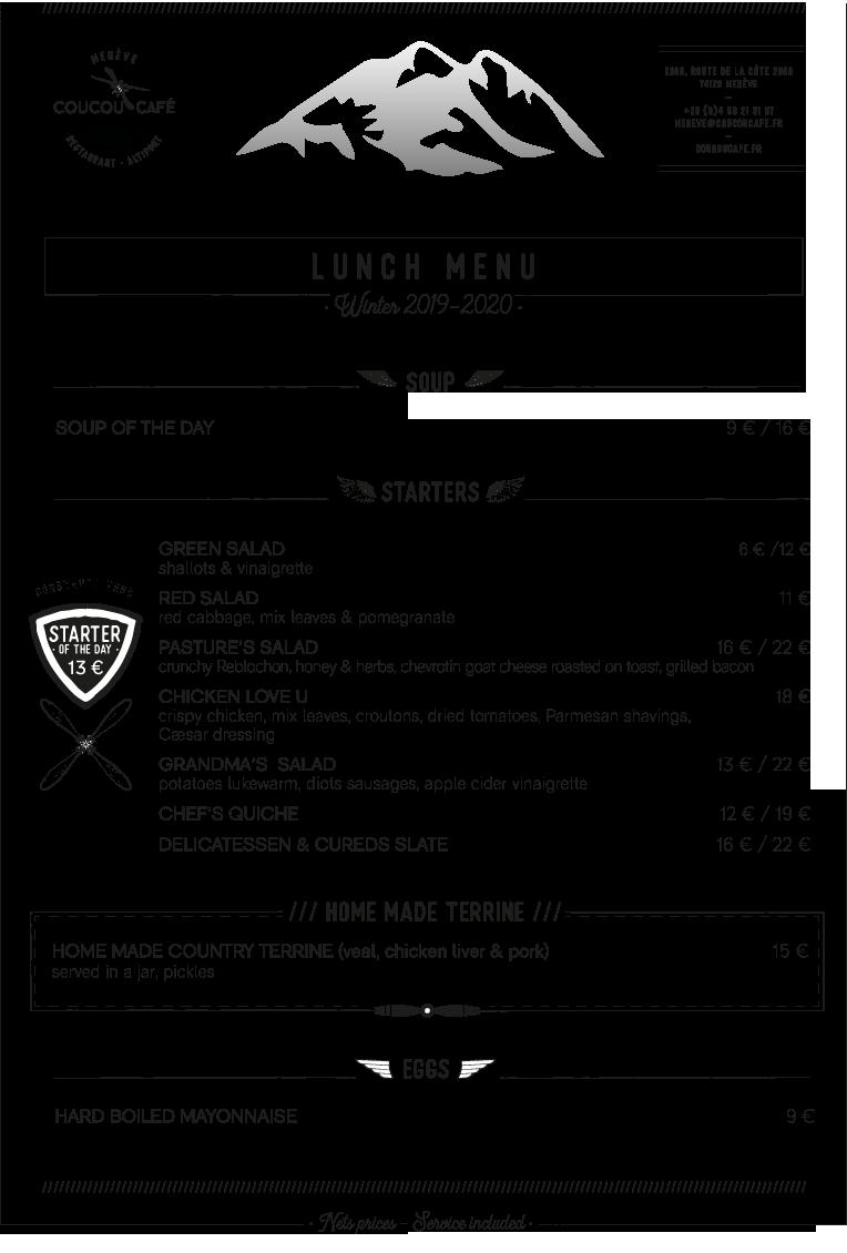 Lunch Menu - Winter 2019-2020