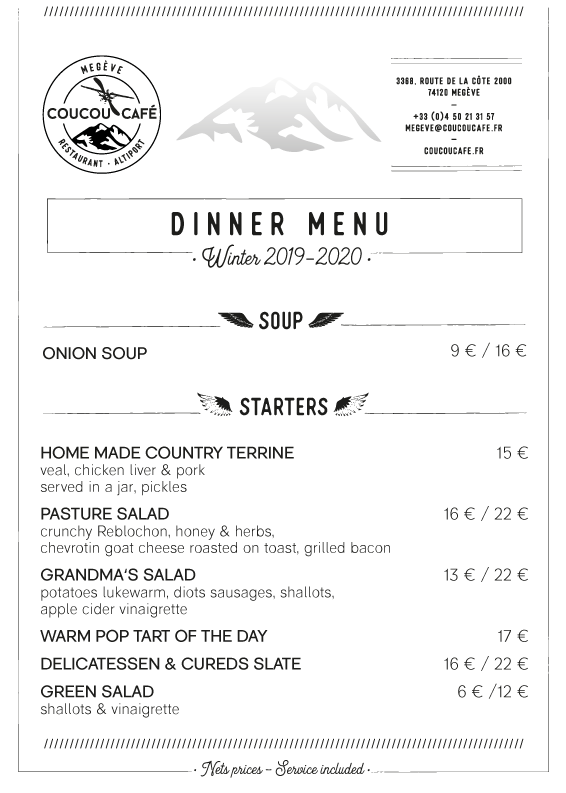 Dinner Menu - Winter 2019-2020