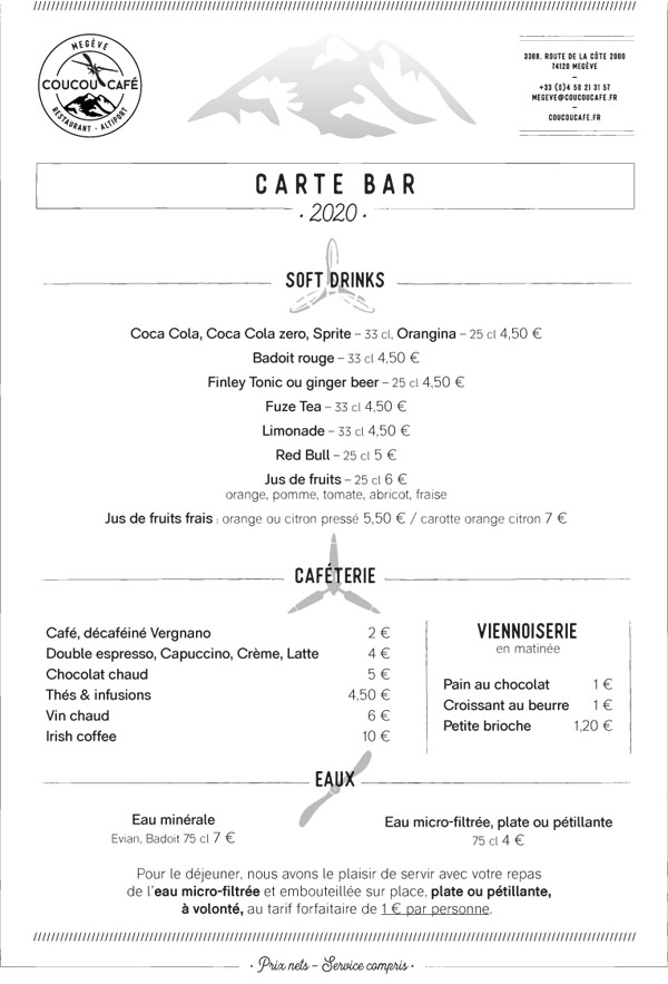 Carte Bar Coucou Café
