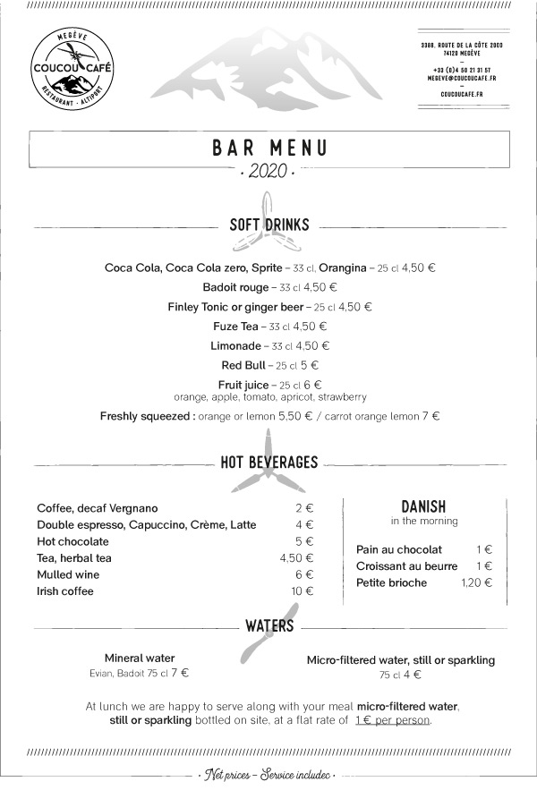 Menu Bar Coucou Café