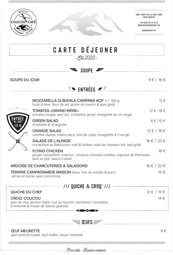 Carte Déjeuner Coucou Café Été 2020