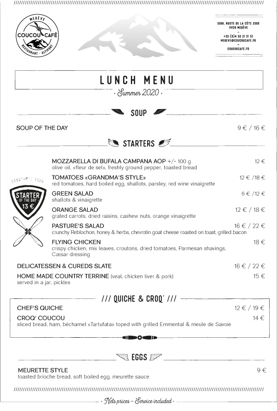 Lunch Menu - Summer 2020