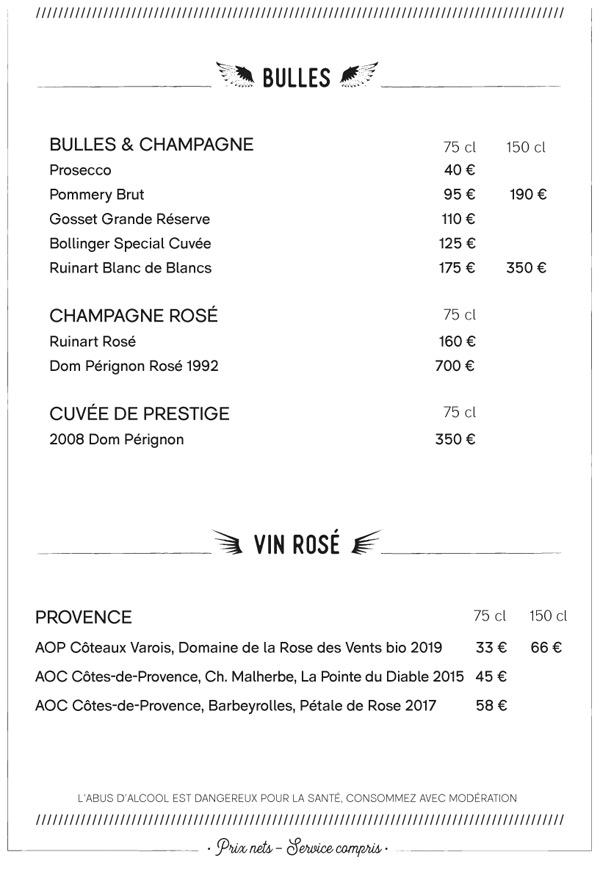 Carte des vins Coucou Café
