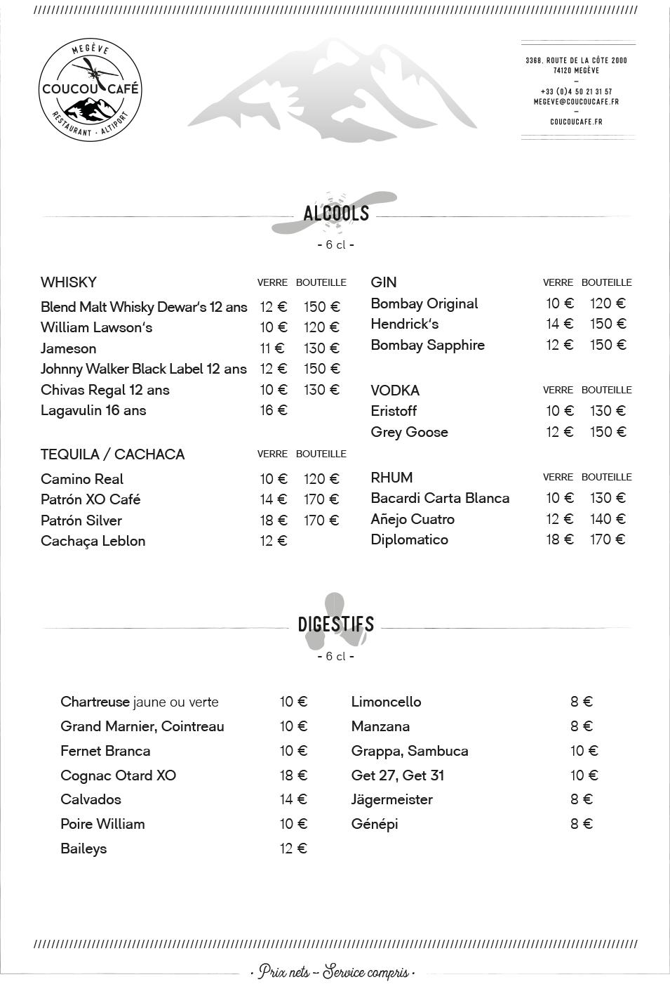 Carte Bar Coucou Café Été 2021