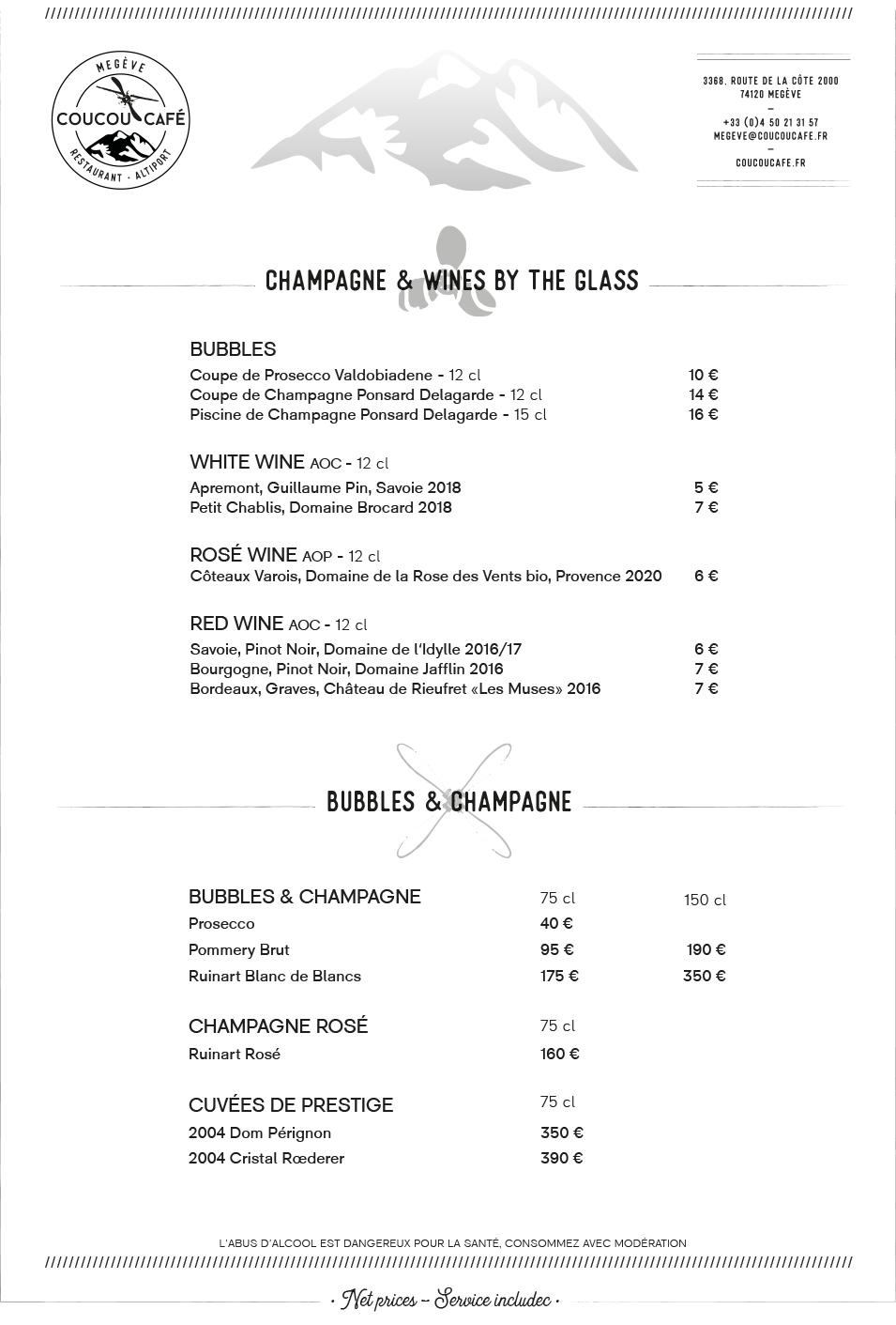 Bar Menu Coucou Café Summer 2021