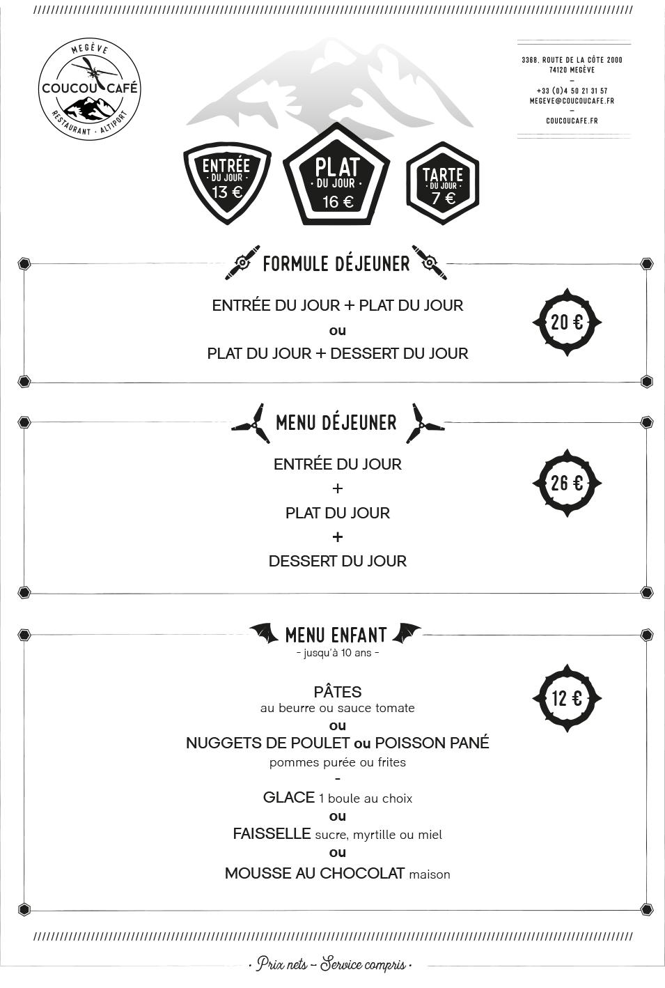 Carte Déjeuner Coucou Café Été 2021