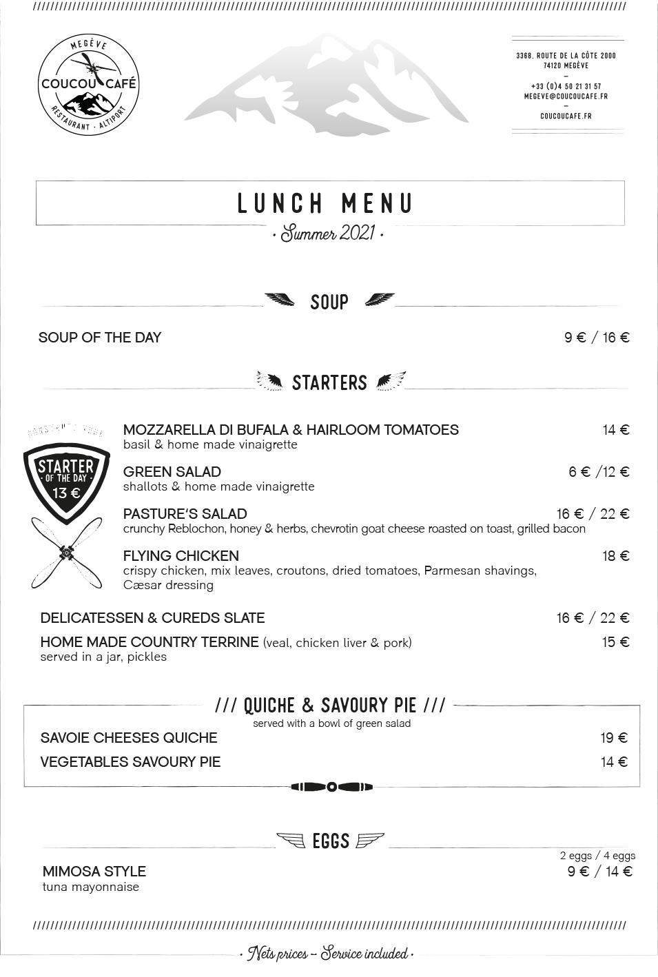 Lunch Menu - Summer 2021